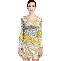 Abstract Composition Digital Processing Long Sleeve Velvet Bodycon Dress