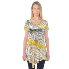 Abstract Composition Digital Processing Short Sleeve Tunic