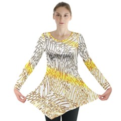 Abstract Composition Digital Processing Long Sleeve Tunic