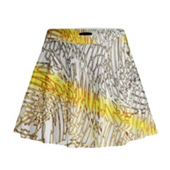 Abstract Composition Digital Processing Mini Flare Skirt