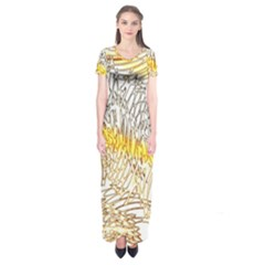 Abstract Composition Digital Processing Short Sleeve Maxi Dress