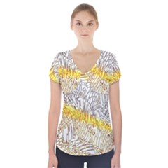 Abstract Composition Digital Processing Short Sleeve Front Detail Top