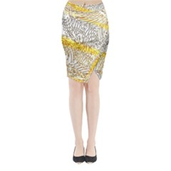 Abstract Composition Digital Processing Midi Wrap Pencil Skirt