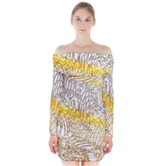 Abstract Composition Digital Processing Long Sleeve Off Shoulder Dress
