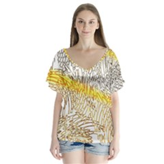 Abstract Composition Digital Processing Flutter Sleeve Top