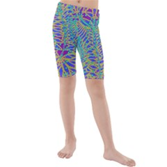 Abstract Floral Background Kids  Mid Length Swim Shorts