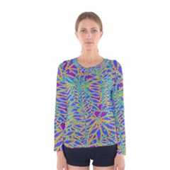 Abstract Floral Background Women s Long Sleeve Tee