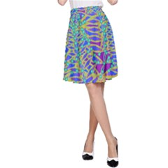 Abstract Floral Background A Line Skirt