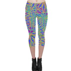 Abstract Floral Background Capri Leggings