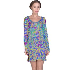 Abstract Floral Background Long Sleeve Nightdress