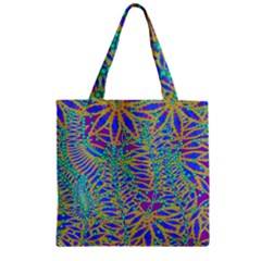 Abstract Floral Background Zipper Grocery Tote Bag