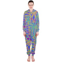 Abstract Floral Background Hooded Jumpsuit (ladies)