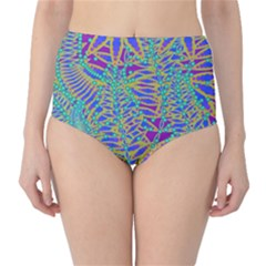 Abstract Floral Background High-Waist Bikini Bottoms