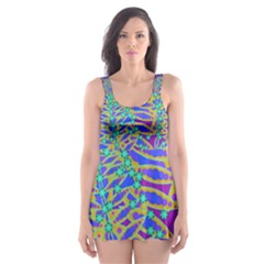 Abstract Floral Background Skater Dress Swimsuit