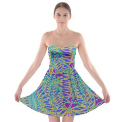 Abstract Floral Background Strapless Bra Top Dress
