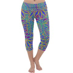 Abstract Floral Background Capri Yoga Leggings