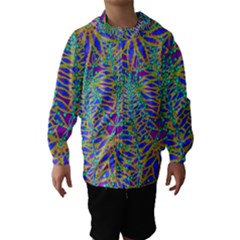 Abstract Floral Background Hooded Wind Breaker (Kids)