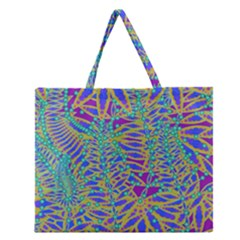 Abstract Floral Background Zipper Large Tote Bag