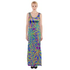 Abstract Floral Background Maxi Thigh Split Dress