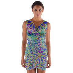 Abstract Floral Background Wrap Front Bodycon Dress