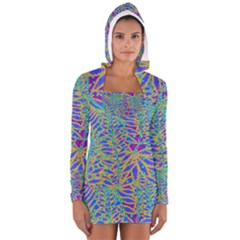 Abstract Floral Background Women s Long Sleeve Hooded T-shirt