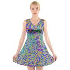 Abstract Floral Background V-Neck Sleeveless Skater Dress