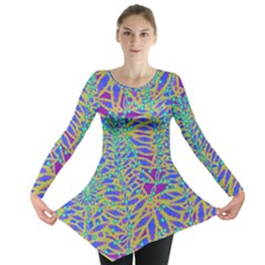 Abstract Floral Background Long Sleeve Tunic