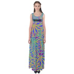 Abstract Floral Background Empire Waist Maxi Dress