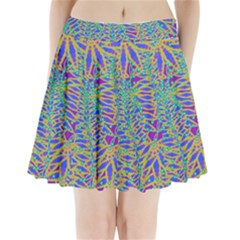 Abstract Floral Background Pleated Mini Skirt