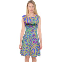 Abstract Floral Background Capsleeve Midi Dress