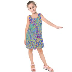 Abstract Floral Background Kids  Sleeveless Dress