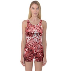 Water Drops Red One Piece Boyleg Swimsuit
