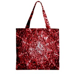 Water Drops Red Zipper Grocery Tote Bag