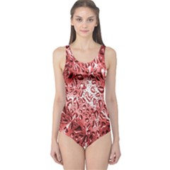 Water Drops Red One Piece Swimsuit