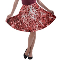 Water Drops Red A Line Skater Skirt