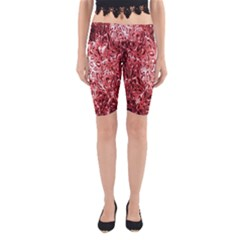 Water Drops Red Yoga Cropped Leggings