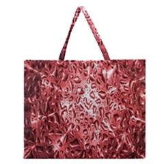 Water Drops Red Zipper Large Tote Bag
