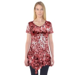 Water Drops Red Short Sleeve Tunic