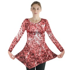 Water Drops Red Long Sleeve Tunic