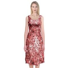 Water Drops Red Midi Sleeveless Dress