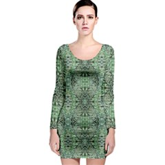 Seamless Abstraction Wallpaper Digital Computer Graphic Long Sleeve Bodycon Dress