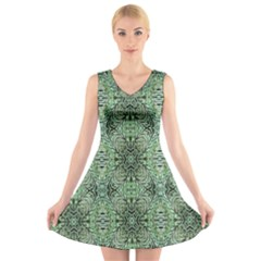 Seamless Abstraction Wallpaper Digital Computer Graphic V-Neck Sleeveless Skater Dress