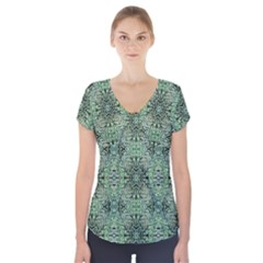 Seamless Abstraction Wallpaper Digital Computer Graphic Short Sleeve Front Detail Top