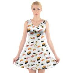 Sushi Lover V Neck Sleeveless Skater Dress