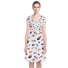 Sushi Lover Short Sleeve Front Wrap Dress
