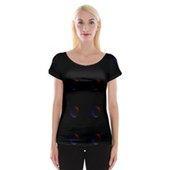Tranquil Abstract Pattern Women s Cap Sleeve Top