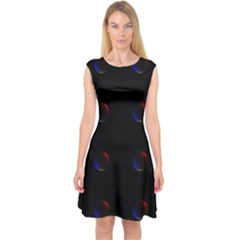 Tranquil Abstract Pattern Capsleeve Midi Dress