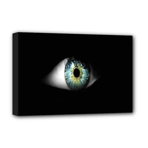 Eye On The Black Background Deluxe Canvas 18  x 12