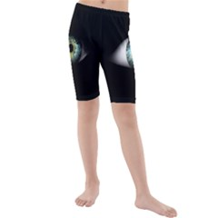Eye On The Black Background Kids  Mid Length Swim Shorts