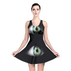 Eye On The Black Background Reversible Skater Dress